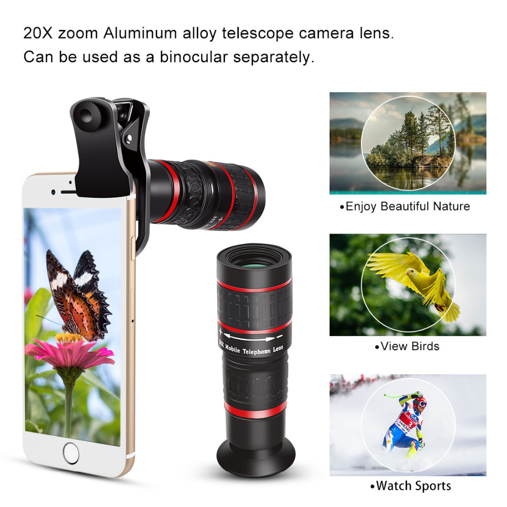 US $6 18 42% OFF|Aokin Mobile Phone Lens Universal Clip 18X 20X Zoom  Cellphone Telescope Lens Telephoto Smartphone Camera Lens For iPhone  Xiaomi-in