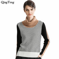 2018 New 100% Pure Cashmere Slim Knit Sweater Women Autumn Winter Thick Striped Patchwork Pullovers Black White Sweater Fashion