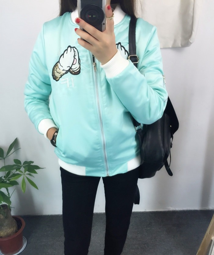 045a8a5d3b0d 2016 HARAJUKU embroidery weeping cat pullover baseball coat wadded ...