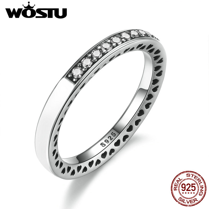 WOSTU 3 Colors 925 Sterling Silver Radiant Hearts R