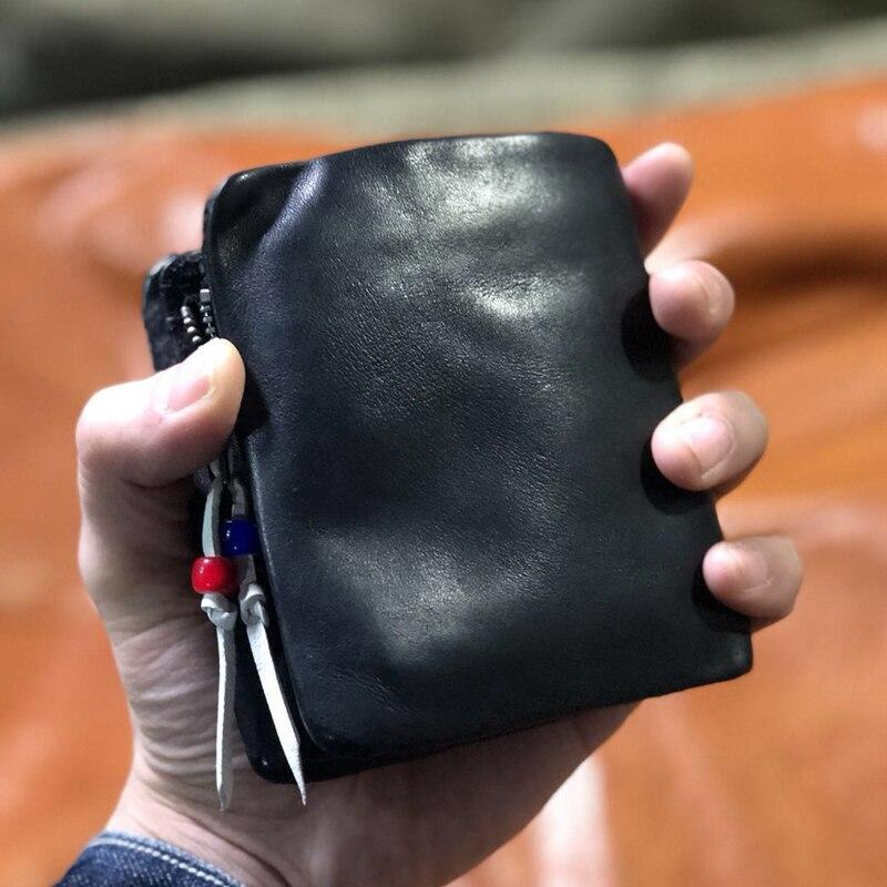 Genuine Leather Men s Purse Coin Pocket Button Classic Cowhide Cow Men Wallet Male Money Bag