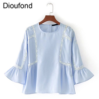 Dioufond Striped Shirts Lace O Neck Tops Women S Sheer Flower Embroidered Blouse Flare Sleeve Summer
