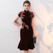 цены Mini Plus Size 3XL 4XL Elegant Lady Evening Party Dress Print Flower Chinese Style Women Qipao Black Satin Classic Cheongsam