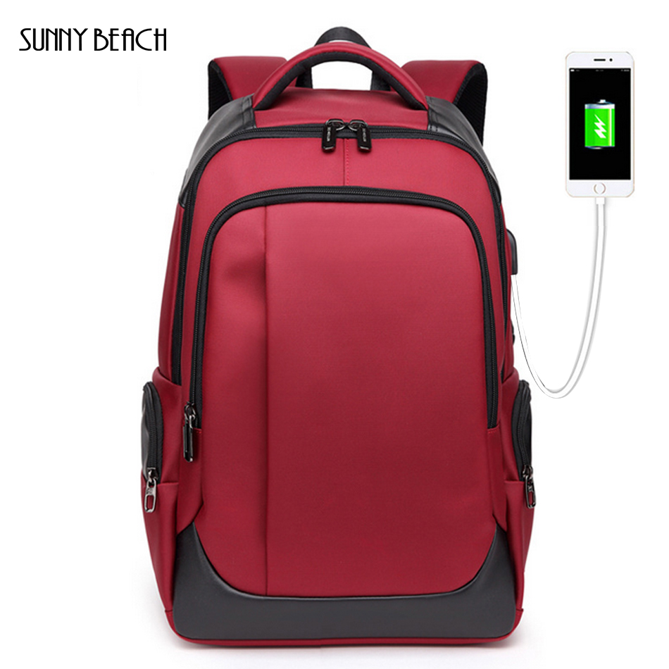 New Backpack For Men Business Waterproof Backpacks Usb Charging Large Capacity Bag Casual Travel Backpack Black Red Blue