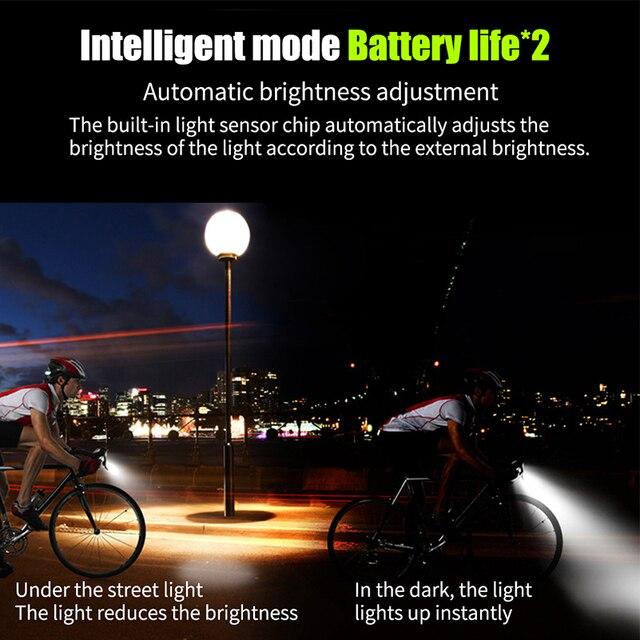 4000mah conjunto de luz dianteira da bicicleta indução inteligente usb recarregável 800 lúmen led luz da bicicleta com chifre lâmpada ciclismo lanterna 5
