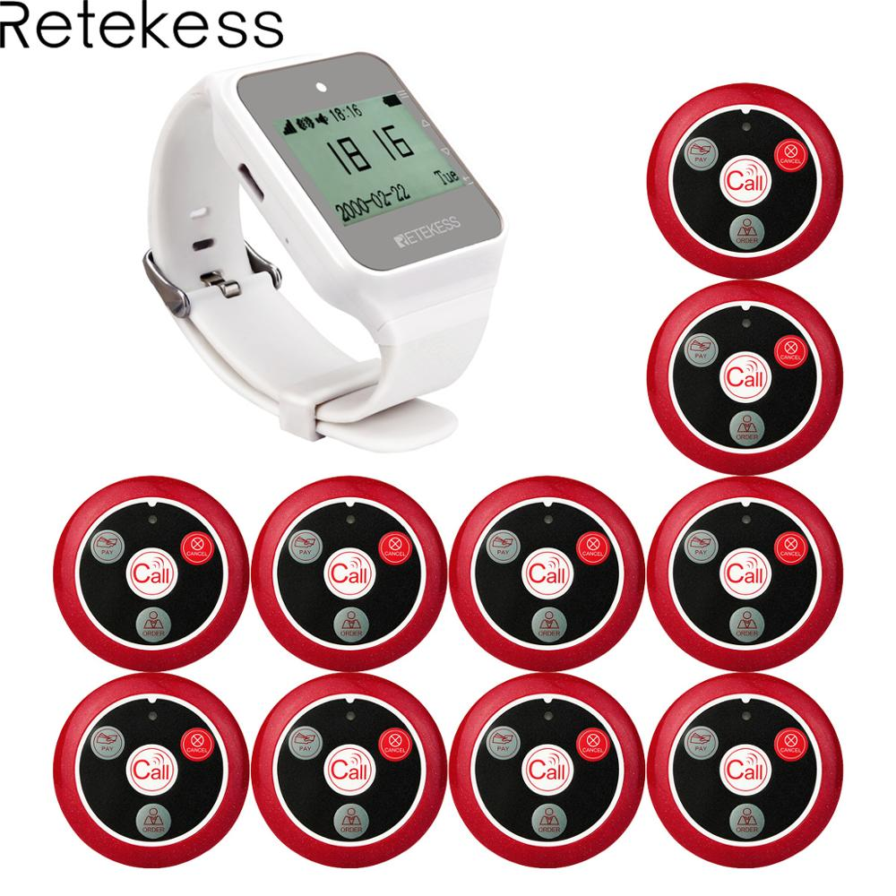 Retekess 999CH 1pcs TD108 Watch Receiver + 10pcs Call Button Transmitter Wireless Pager Restaurant Waiter Calling System 433MHzRetekess 999CH 1pcs TD108 Watch Receiver + 10pcs Call Button Transmitter Wireless Pager Restaurant Waiter Calling System 433MHz