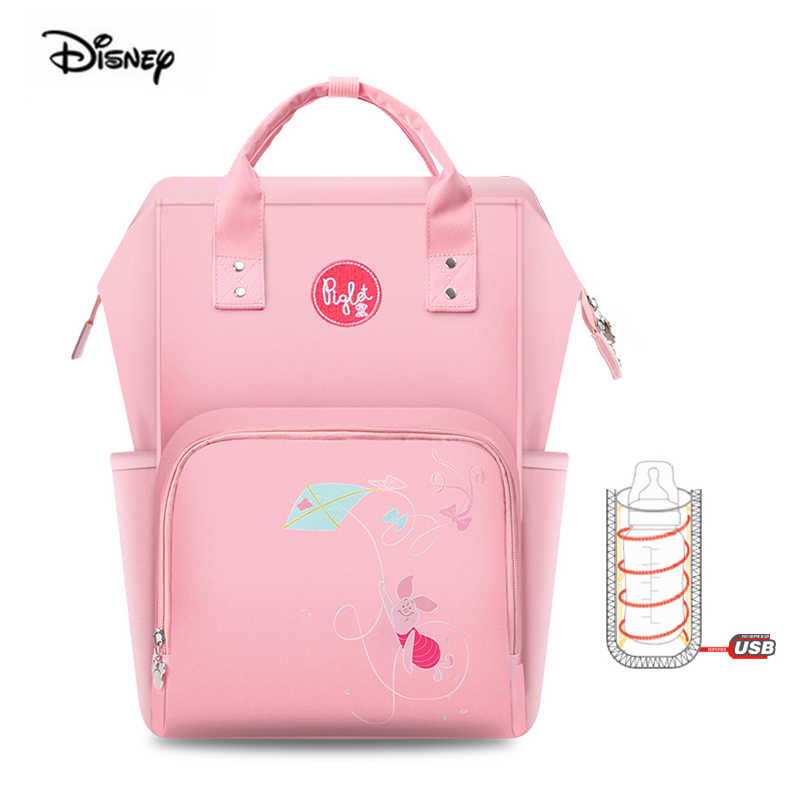 Disneys New Diaper Bag Mochila Moda PortableMummy Maternity Bag Multifuncional De Gran Capacidad Baby Nappy Bag Mother and Baby Bag Rosado