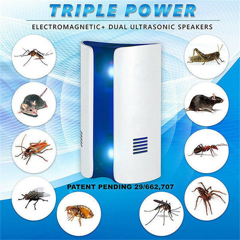 Multi-Functional Ultrasonic + Electromagnetic Wave Repeller Pest Reject Anti Mice Mosquitoes Spiders Insect Repellent Killer CA