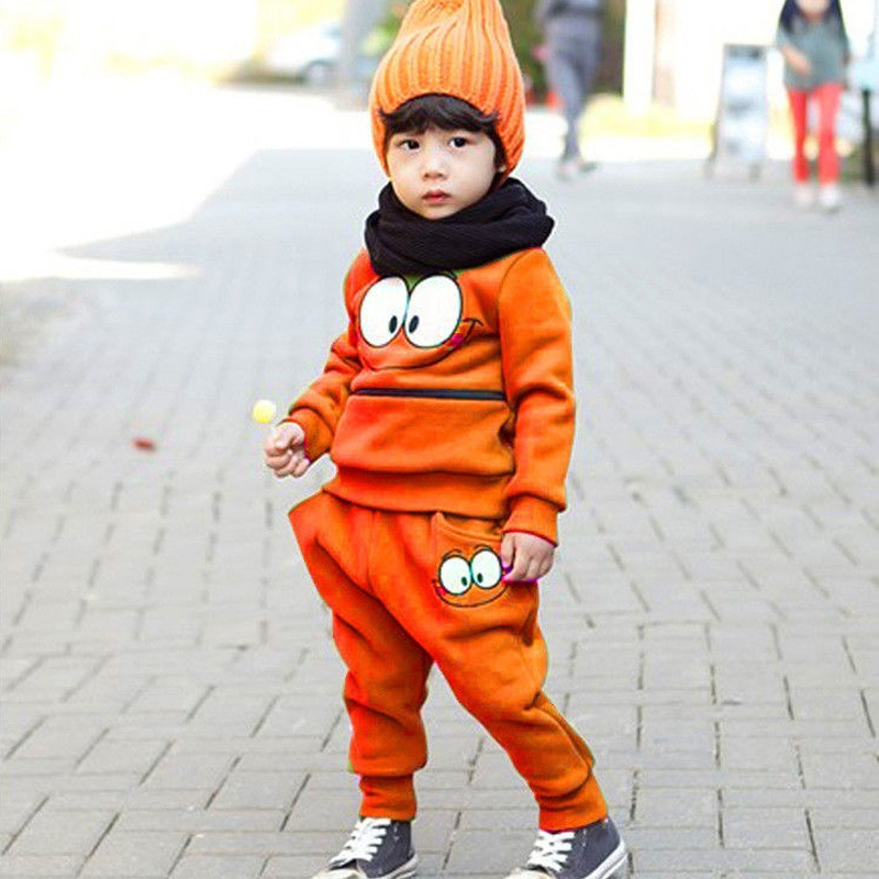 2PCS-Baby-Kids-Smiling-Face-Hooded-Hoodie-Suit-Cotton-Fleeces-Tracksuit-for-BoysGirls-Top-Pants-FJ88-2