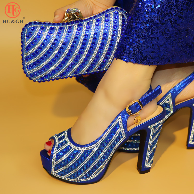 2018 Matching Shoes and Bag Set Blue Italy Shoe and Bag Set 2018 Nigerian Women Wedding Shoes and Bag Set African Party Shoes italian matching shoes and bag set african wedding shoe italy sandal shoe and bag set for party high heels sandal shoes bch 27