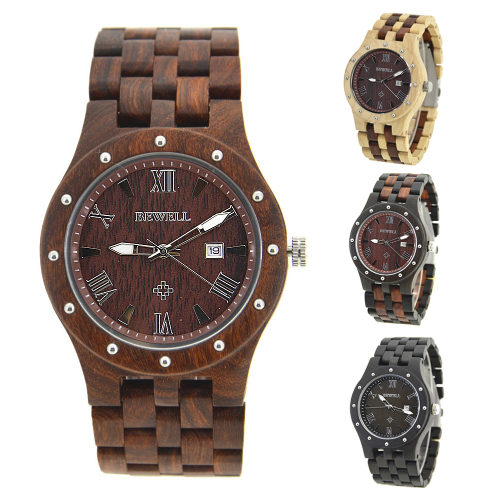 BEWELL Red Wood Watch Mens Watches Top Brand Luxury Clock Men Luxury Male Watches Luxury Analog Quartz Watch Dropshipping Hot bewell men stylish luxury business black wood watch calendar life waterproof watch analog quartz movement male wristwatches 109a