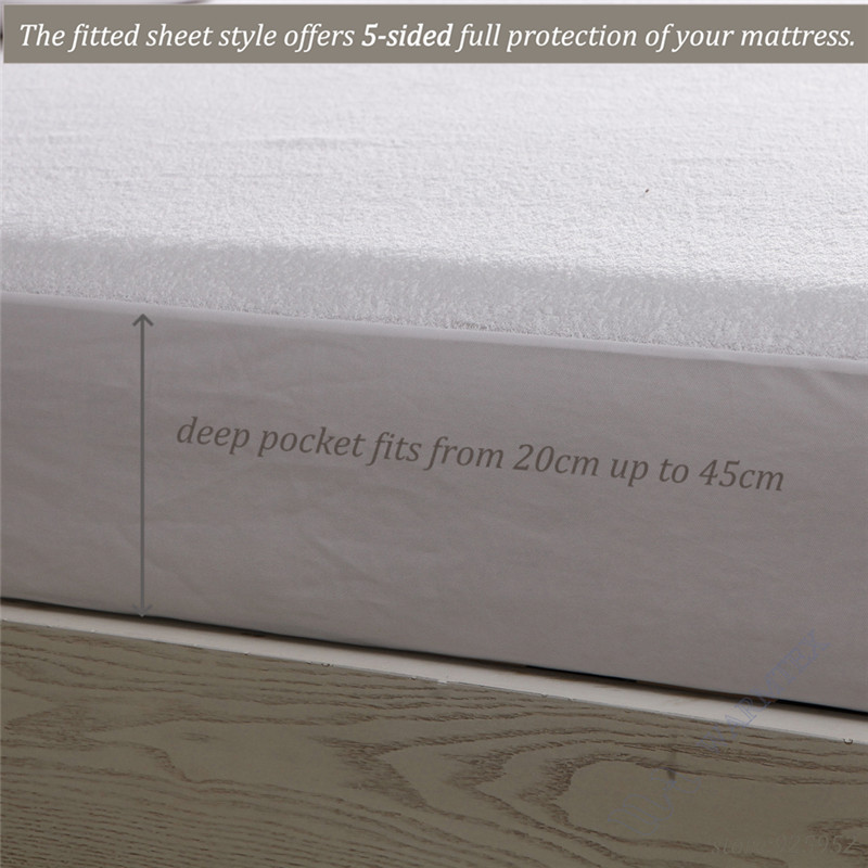 190x160cm luxuryTerry Cloth Mattress Cover 100% Waterproof of TPU Mattress Protector various skirt size A