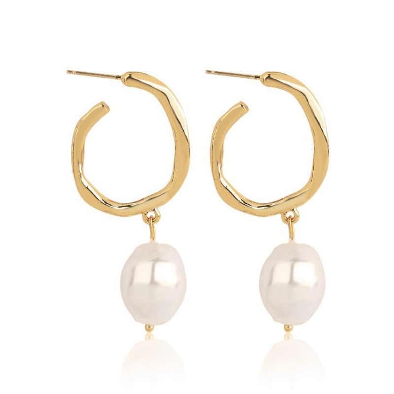 8 季節新ファッション 2019 バロック様式の白真珠のイヤリング不規則な幾何学ゴールドメタルロングウェディングジュエリー、 1 ペア