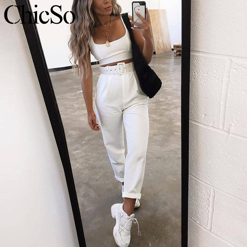 MissyChilli Waist belt white cargo   pants   Women khaki long casual   pants     capris   Streetwear yellow autumn winter high waist   pants