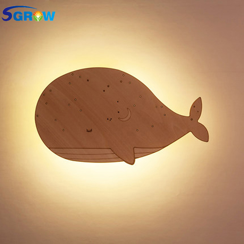 SGROW Wooden Cute Fish Wall Lamp Children Cartoon Bedside Lights for Bedroom Dinning Room Stairs Wall Sconce Simple Led Lampara manufacturers wholesale cartoon cute monkey zebra children room lights bedroom warm children chandeliers children room lights