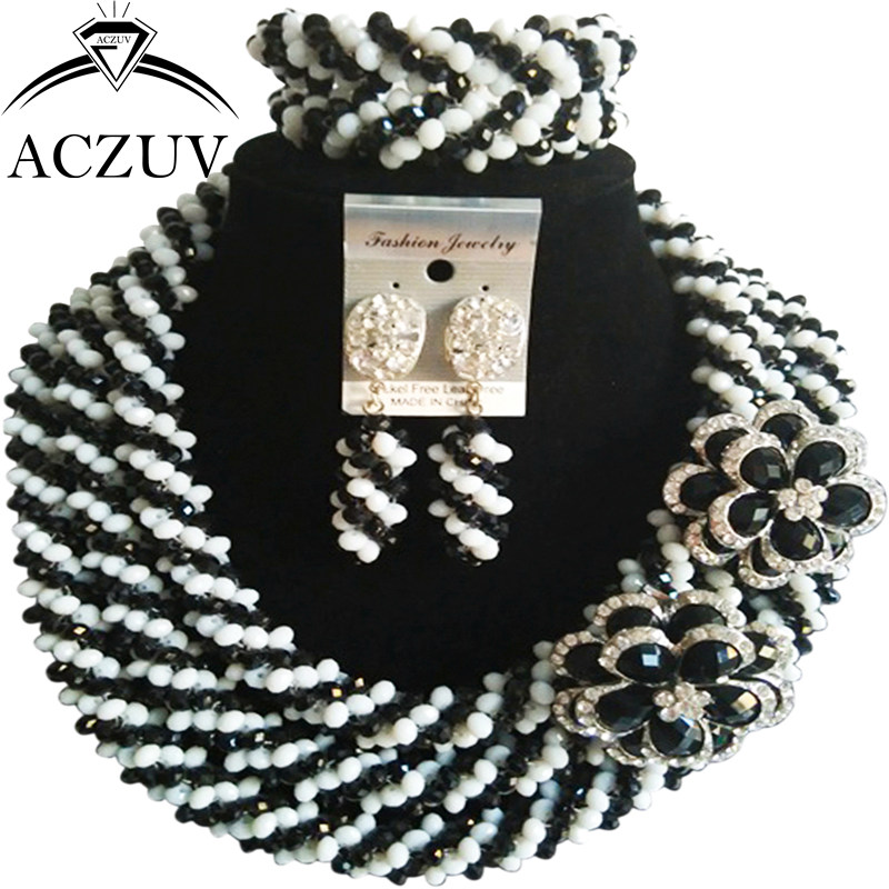 ACZUV White and Black Crystal Dubai Jewelry Set African Wedding Beads Necklace and Earrings Bracelet Sets A3R010ACZUV White and Black Crystal Dubai Jewelry Set African Wedding Beads Necklace and Earrings Bracelet Sets A3R010