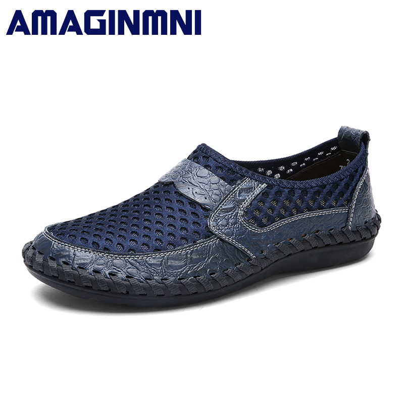 AMAGINMNI 2018 Summer Breathable Mesh Shoes Mens Casual Shoes Slip On Brand Fashion Summer Shoes Man Soft Comfortable Big Size zjnnk summer men mesh shoes big size male casual shoes breathable slip on chaussure homme light soft men summer shoes big size