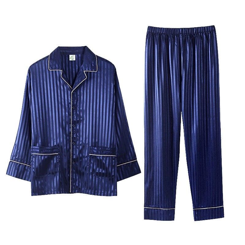 2019 Blau Silk Männer Pyjama Sets Schlaf Striped Satin Nachtwäsche Männer Frühling Sommer Anzug Volle Hülse Pyjama Plus Größe 3xl Pijama Männlichen