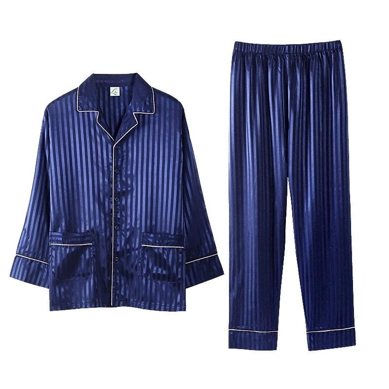 2020 Blue Silk Men Pajama Sets Sleep Striped Satin Sleepwear Men Spring  Summer Suit Full Sleeve Pyjama Plus Size 3XL Pijama Male Men's Pajama Sets   - AliExpress