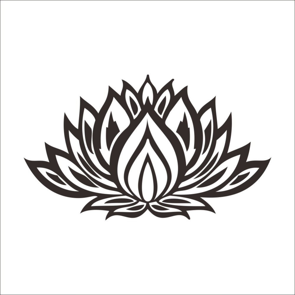 Beautiful Black Lotus Flower Home Decals Wall Stickers Living Room