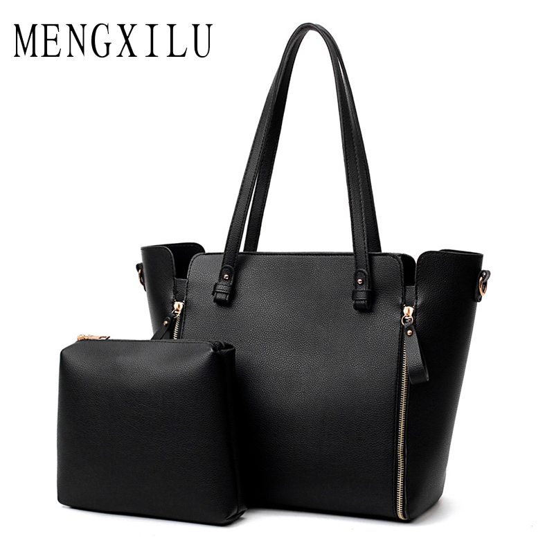 MENGXILU Fashion Brand Women PU Leather Shoulder Bag Ladies Large Casual Tote Bag Woman Handbags Black Simple Composite Bags Sac reprcla brand designer handbags women composite bag large capacity shoulder bags casual ladies tote high quality pu leather