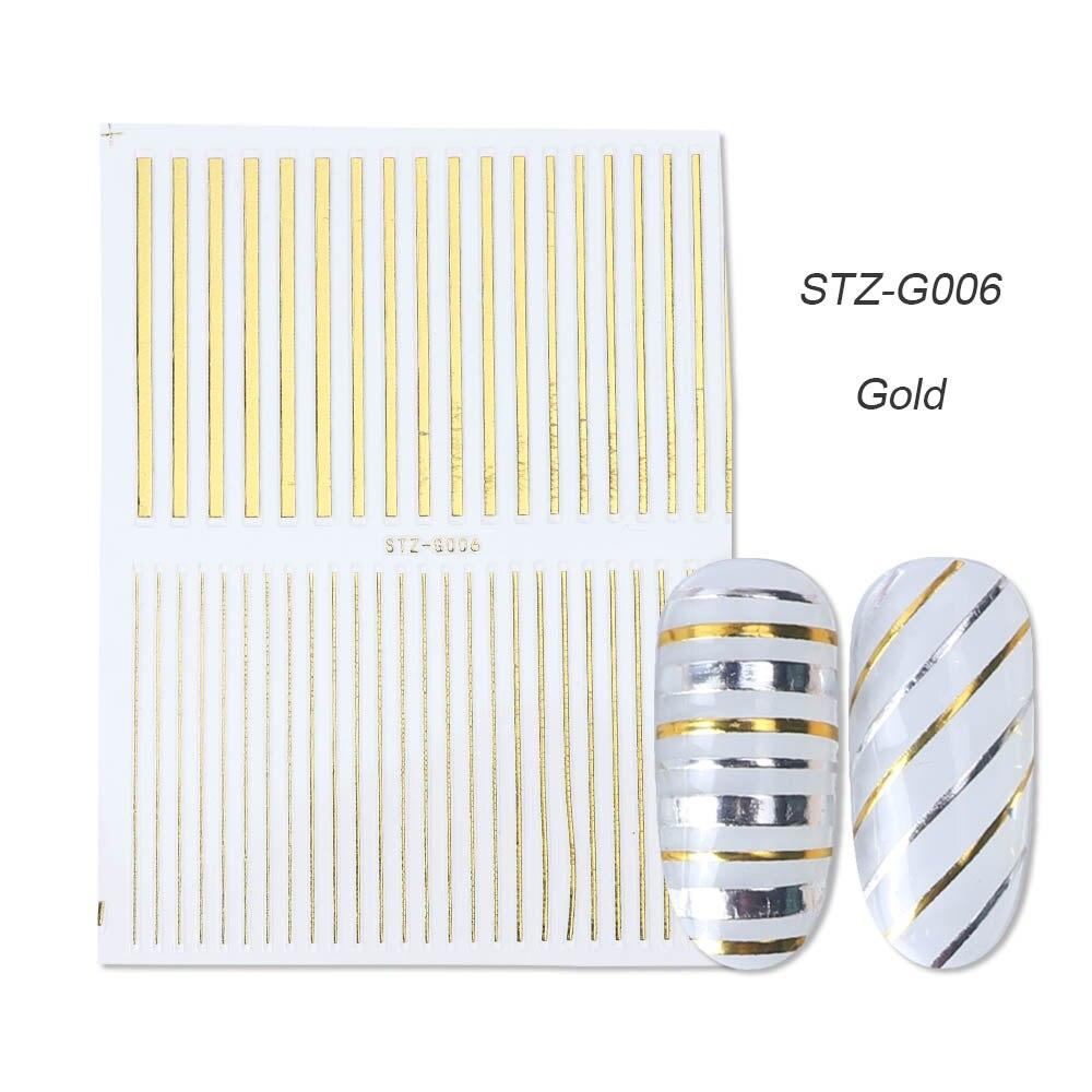 1 шт золотые Серебристые 3D наклейки для ногтей прямые изогнутые вкладыши полосы ленты обертывания геометрический дизайн ногтей украшения BESTZG001-013 - Цвет: STZ-G006 Gold
