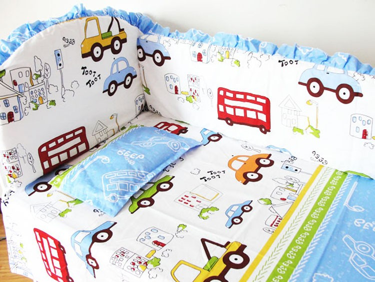 Discount! 6pcs Newborn Baby Bedding Kit Crib Pieces Set Sell On Sale,include(bumper+sheet+pillowcase)