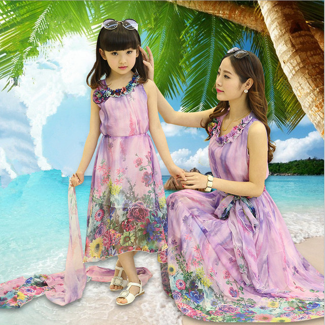 Mom and daughter dress matching mother daughter clothes family look girl  and mother dress Floral Chiffon sleeveless dresses d49983b6d