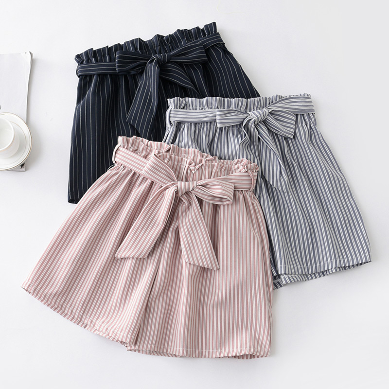 New Summer Houndstooth Bow Sashes Striped   Shorts   Women Elegant Slim Thin Plaid Wide Leg   Shorts   Loose High Waist Dot   Shorts   Mw468