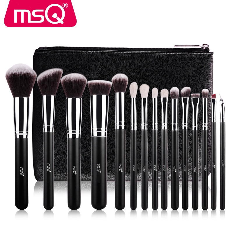MSQ 15pcs Brand Pro Makeup Brushes Powder Foundation Eyeshadow Make Up Brush Set with PU Leather Case Synthetic Hair Cosmetics msq 29pcs makeup brushes set animal hair foundation powder eyeshadow make up brush kit with pu leather case