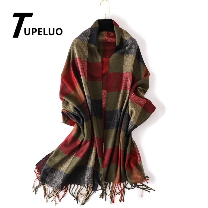 Thicken Warm Winter Scarf Women Plaid Cashmere Scarves Fashion Tassels Shawl and Wraps High Quality Pashmina 2019 New Echarpe in Women 39 s Scarves from Apparel Accessories