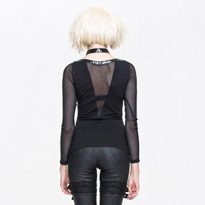 Black Manica Halater Steampunk Rock Vestiti Delle Nero T Gothic T Shirt Donne Punk Tees Lunga Sexy Top Equipaggiata shirt qHnUFH