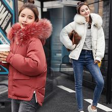 Brieuces 2018 New Short Parkas For Women Winter Coats Faux Fur Collar Hooded Cotton Slim Warm Jackets And