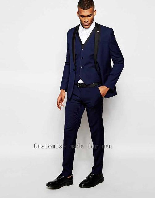 Italian Men Tailcoat Blue Shawl Collar One Button Wedding ...