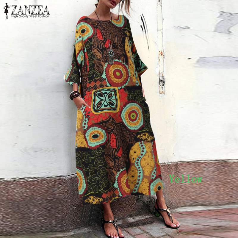 ZANZEA 2020Summer Women Bohemian Long Maxi Dress Vintage Print Long Sleeve Vestidos Cotton Linen Robe Femme Beach Sundress 5XL