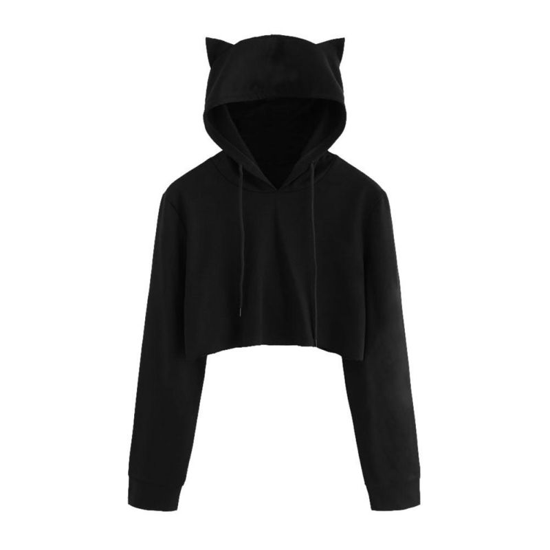 Teen Girls Cute Cat Ear Breathable Trim Sweatshirt Crop Top Long Sleeve Pullover Hoodies
