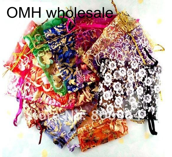 OMH Wholesale 10pcs 15color Mix Love Heart Rose Flowers Christmas Wedding Voile Organza Bags Jewlery Packing Gift Gift BZ08-21
