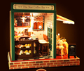 3D DIY puzzle wooden doll house miniatures star coffee bar with furnitures Assembled Model Building house toys for children
