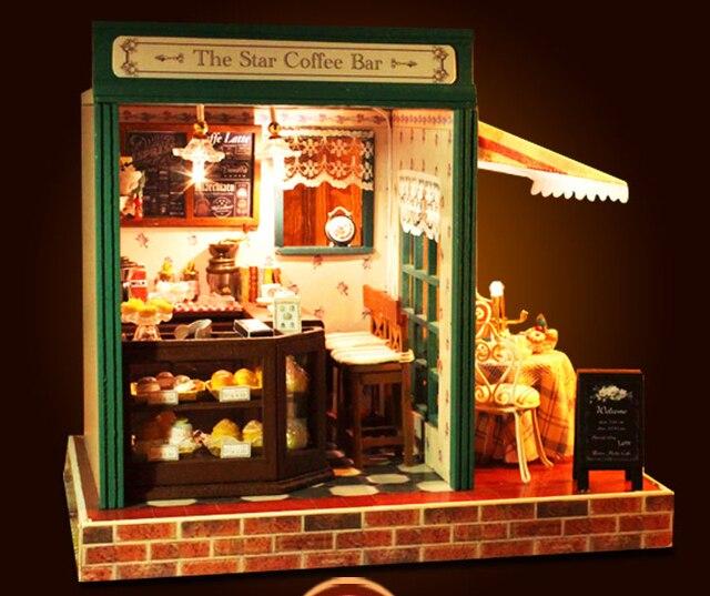 3D Puzzle DIY De Madeira Doll House Miniatures Estrela Café Bar Com  Mobiliário Modelo De Construção