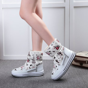 Image 4 - Lady Buffie Brand Fashion shoes mixed natural wool winter Women boots girl flower waterproof thermal snow boots colourful boots