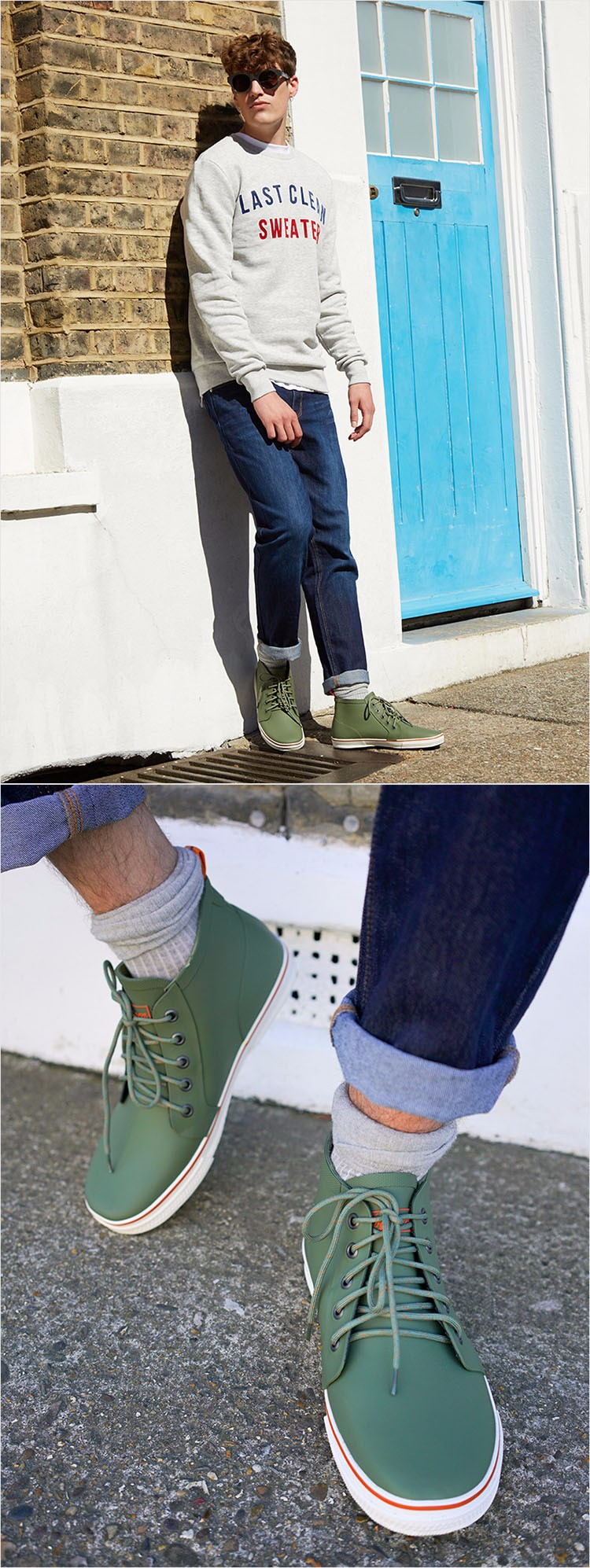 Hellozebra Men Rain Boots Autumn Fashion Lace Men 's Short Tube Water Boots Low Shoes Men Outdoor Waterproof Fishing 2017 New  (17)