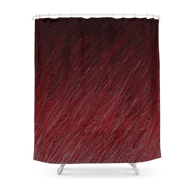 Funky Dark Red Shower Curtain Polyester Fabric Bathroom Home ...