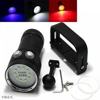 20000 Lumen 10 * XM-L2 LED de Luz Blanca + Luz + 4x 4x Rojo UV Luz LED Antorcha de Vídeo Bajo El Agua buceo Linterna + 18650 Batería + Cargador