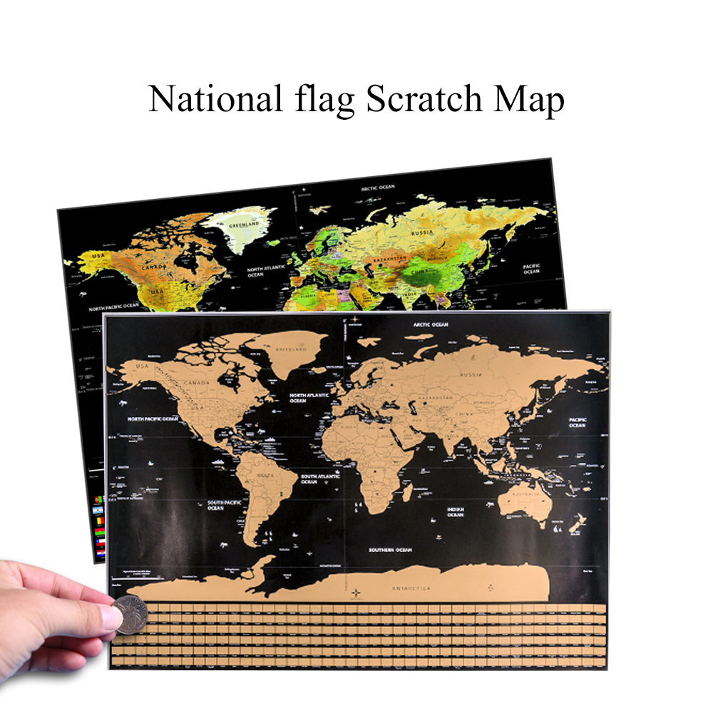 Scratch Off World Travel Map Poster Copper Foil World Map Wall Map Personalized Journal Log Small Size Without Cylinder Packing