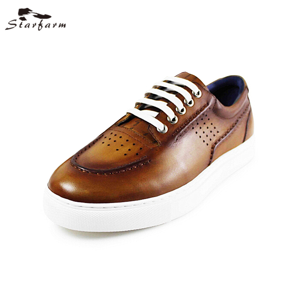 STARFARM Fashion Handmade Genuine Leather Shoes Board Shoes Men Casual Flat Retro Sneaker Chic Loafer Back to School Shoes Flats 2017 new spring british retro men shoes breathable sneaker fashion boots men casual shoes handmade fashion comfortable breathabl