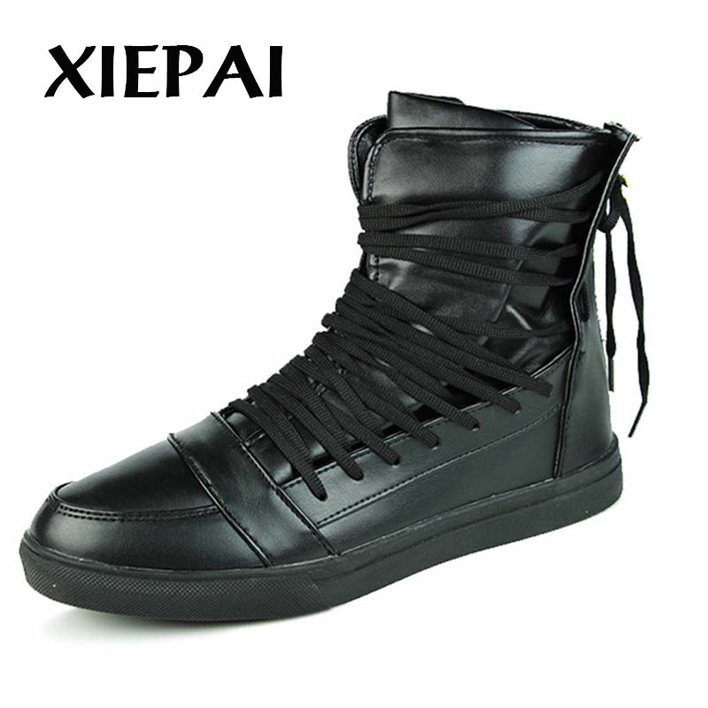 XIEPAI Shoelace Design Men Fashion High Shoes Size 39-44 Popular Style Student Boys Casual Flat Boots Black White Red