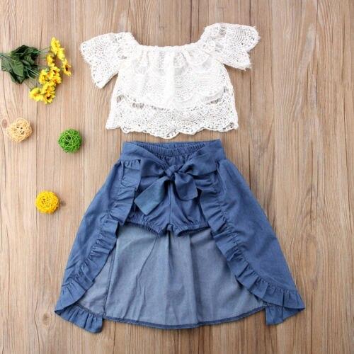 3PCS Baby Girl Clothes Sets Lace Off-Shoulder T-Shirt Tops Skirts Shorts Bowknot Denim Summer Party Clothes Set Child 1-6T