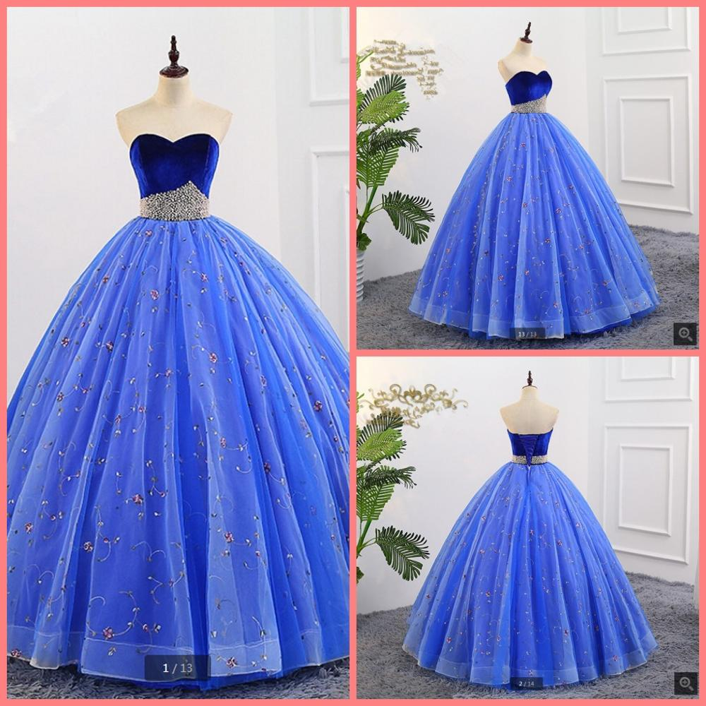 2019 real picture royal blue lace velvet ball gown prom dress pearls strapless with sweetheart neck corset prom gowns hot sale