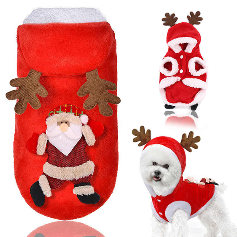 Comfortable Santa Dog Cat Costume Santa Elk Dog Costume Christmas Pet Puppy Hoodie Coat Clothes Xmas Holiday Kitten Cat Clothing