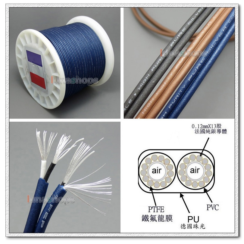 100cm Top High-end High Detinion Stereo Earphone DIY Bulk PURE SILVER Conductors Cable + PEP Insulated LN004783